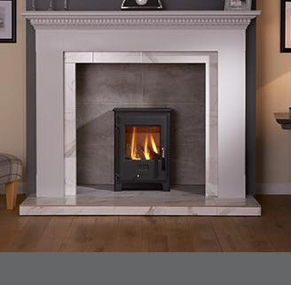 Grey surround with stove